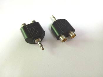 100vnt daug 3.5 mm Stereo Audio Splitter Y 3.5 mm Male RCA Female adapter Naujas